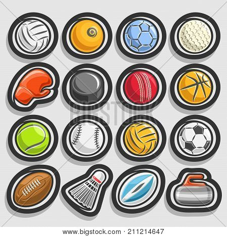 Vector collection of sporting and gaming equipment, ball of different kinds of sports, boxing glove, hockey puck, badminton shuttlecock, curling stone isolated on grey background