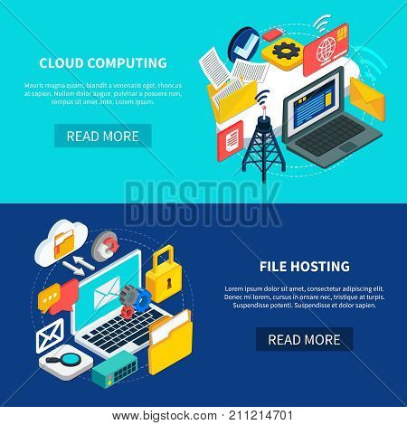 Cloud services horizontal banners with cloud computing and file hosting isometric decorative icons set 3d vector illustration