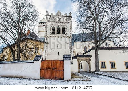 Renaissance bell tower in Basilica of the Holy Cross area Kezmarok Slovak republic. Religious architecture. Travel destination.