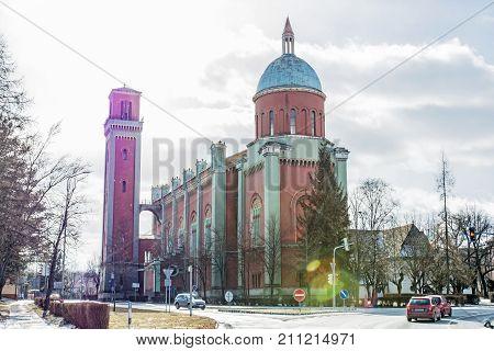 New evangelical church in backlight Kezmarok Slovak republic. Religious architecture. Travel destination.