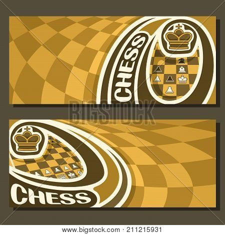 Vector banners for Chess game with copy space, in layouts yellow & brown curved checkerboard squares for title text on chess theme, original font for word - chess, king on chessboard background.