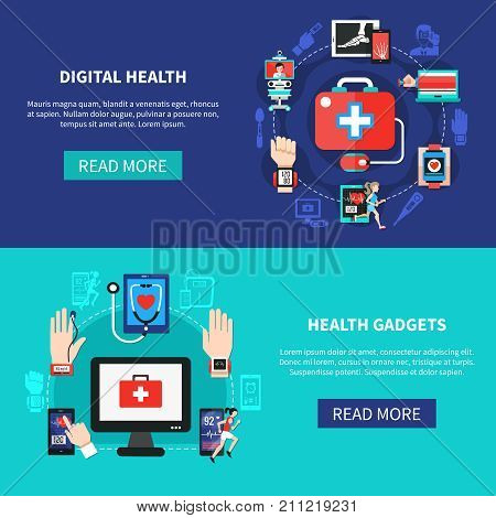 Digital health solutions products online 2 flat horizontal banners webpage design with mobile devices isolated vector illustration
