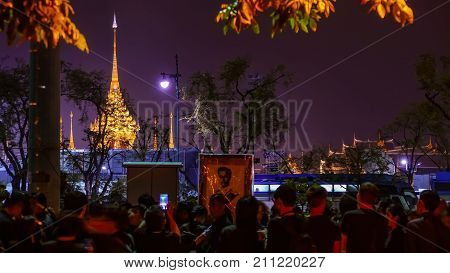 BANGKOK THAILAND - OCTOBER 26: Crowd of people visit The Royal Crematorium of His Majesty King Bhumibol Adulyadej at Sanam Luang Bangkok Thailand on October 26 2017