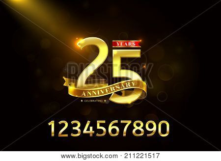 Years Anniversary with Golden Ribbon and glitter bokeh background vector illustration