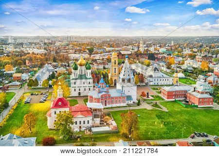Aerial view on churches in old town (kremlin) of Kolomna Moscow oblast Russia