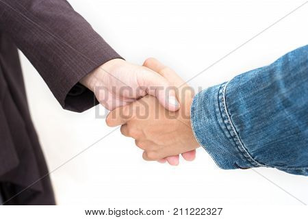 Hands Shake Of Businessmen  On Isolated White Background.  Business And Success Concept, Side View