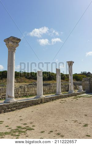 Marble Columns Of Ancient Greek Basilica Of The Vi-x Centuries