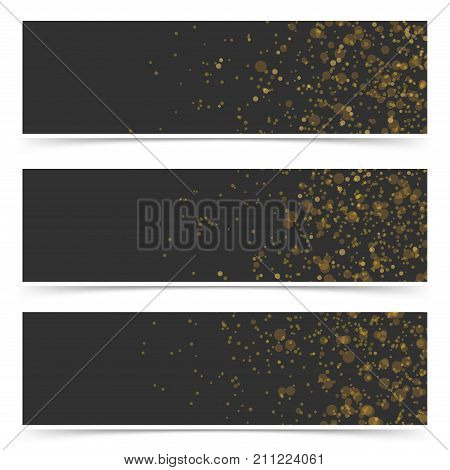 Soft falling confetti luxurious card flyer collection. Bright light particle over black background layout web header footer set. Vector illustration