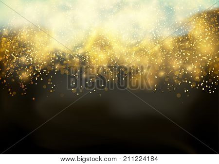 Abstract futuristic golden glittering festive background template. Bokeh Shine light Elegant Glow. Bright Fog and sparkle Dust. Festive Beautiful Fireworks Glitter. Vector illustration