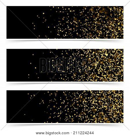 Shimmering golden confetti particle luxurious party flyers collection. Soft falling Bright light particle over black background layout web header footer set. Vector illustration