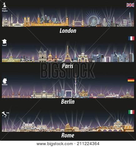 vector illustration of London, Paris, Berlin and Rome skylines at night with bright city lights.Flags and maps of United Kingdom(and England), France, Germany and Italy