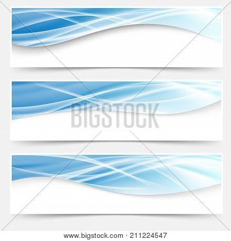 Futuristic fashion abstract light wave pattern header collection. Vector illustration Blue light line headers footers collection set swoosh liquid smoke mesh trail.