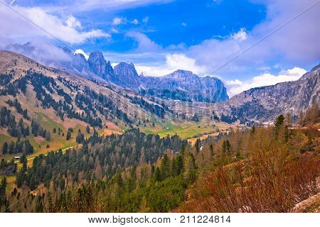 Alpine Landscape Of Gardena Pass In Dolomites Alps