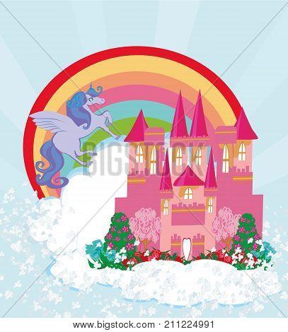 beautiful unicorn and fairy-tale princess castle , vector illustration