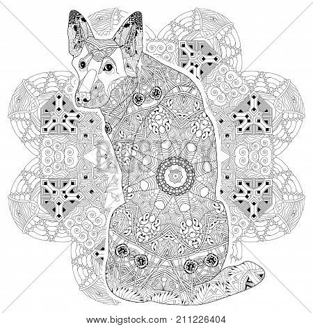 Hand-painted art design. Adult anti-stress coloring page. Black and white hand drawn illustration sheepdog for coloring book