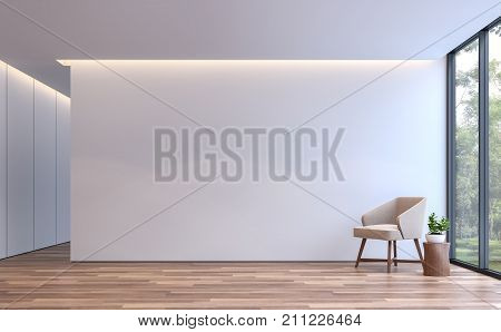 Modern white livingroom minimal style 3d rendering image.The room has wooden floor. There are large window overlooking to the nature