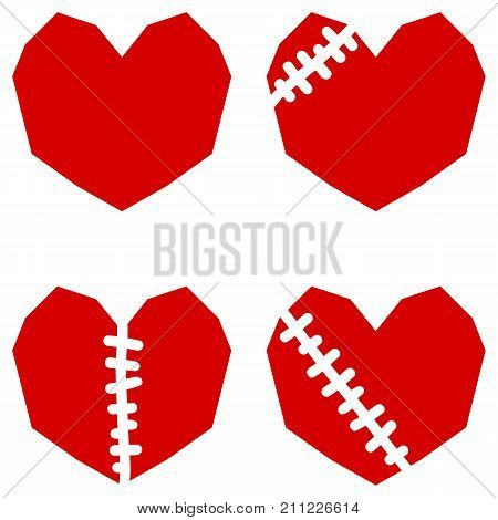 Red hearts with scar. Set of four icons isolated on white background.