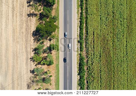 Aerial View Of A Highway Passing Through Fields