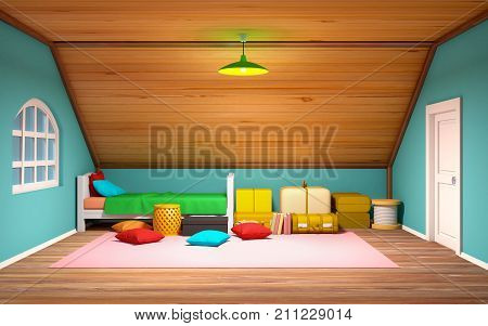 Attic interrior with bed and staff cartoon 3d illustration.