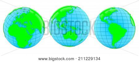 Set of Earths in different rotation phases. 3d illustration