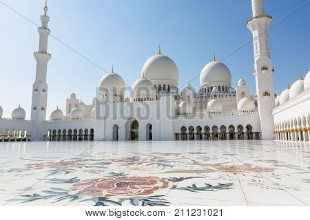 ABU DHABI, UNITED ARAB EMIRATES - DECEMBER 5, 2016: Sheikh Zayed Grand Mosque in Abu Dhabi, the capital city of United Arab Emirates.