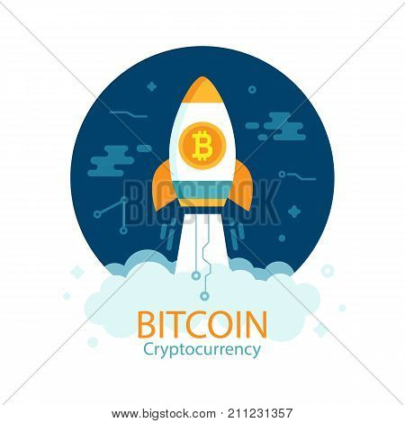 Bitcoin growth concept with rocket. Crypto currency. Digital money. Block chain. Finance symbol. Flat style vector illustration