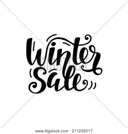 Winter Sale unique banner with cute unique hand lettering. Advertisement placard, promo, flyer. Promotional design for online store, web site. Modern calligraphy isolated elements