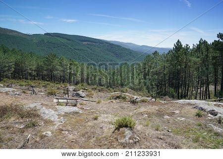 Panoramic view from the peak of the Alto da Portela Grande de Labruja, Camino de Santiago, Portugal