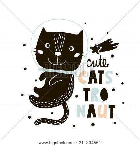 Cute cat in space print. Childish vector illustration in scandinavian style. Perfect for kids and baby apparel design wall art poster