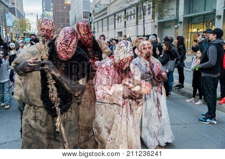 Montreal Canada - October 28 2017: Undead people taking part in the Zombie Walk in Montreal Downtown