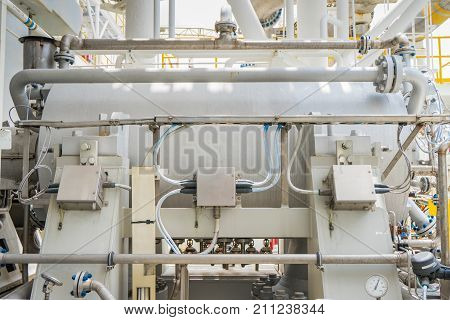Gas turbine compressor centrifugal and multi stage type of gas compressor and piping instrument tubing used in oil and gas industry.