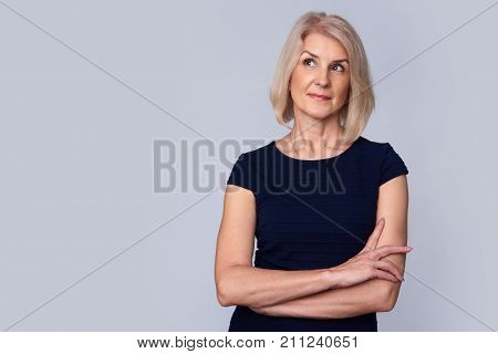 Beautiful Old Woman Looking Up. Isolated