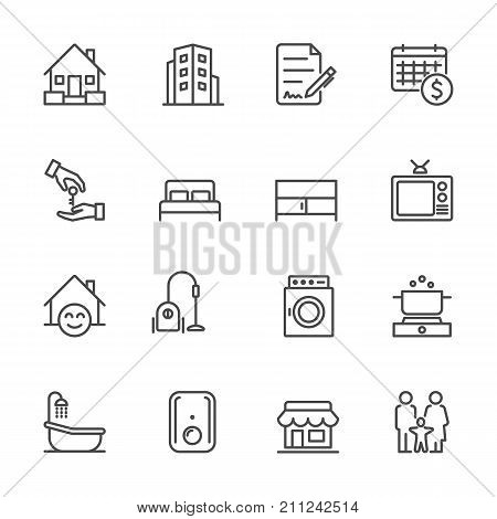 Hotel And Service Apartment, House And Property For Rent, Simple Thin Line Hotel Icons Set, Vector I
