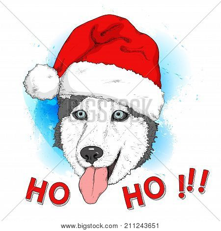 Sketch of husky dog in red Santa's hat on watercolor background. Hand drawing muzzle. Domestic animal. Cute dog with blue eyes and tongue out for Christmas and New Year design