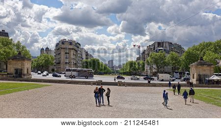 Paris; France- May 02; 2017: View of the Avenue Breteuil. In the square there are tourists