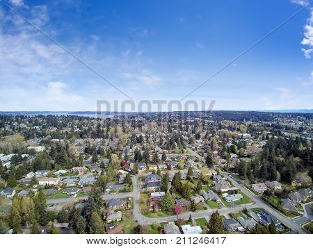 Aerial View Of Residential Area In Bellevue Downtown