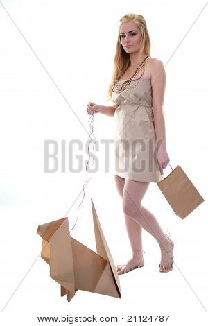 Woman wearing eco clothes with her eco pet isolated on white. poster