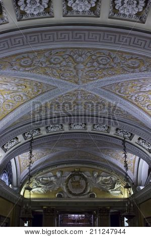 MILAN, ITALY - MAY 11 2014: Ceiling detail of the crypt under the Duomo Cathedral in Milan Italy