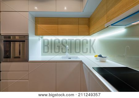 Interior of a modern kitchen, new apartment