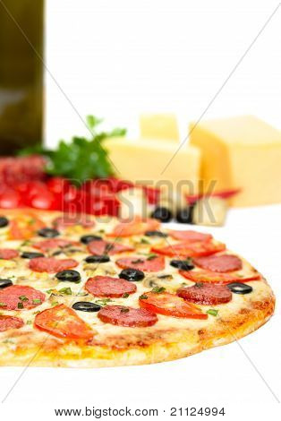 big hot pizza italiano isolated on white