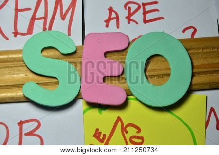 the word seo ona abstract colorful background