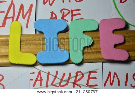 the word life on a  abstract colorful background