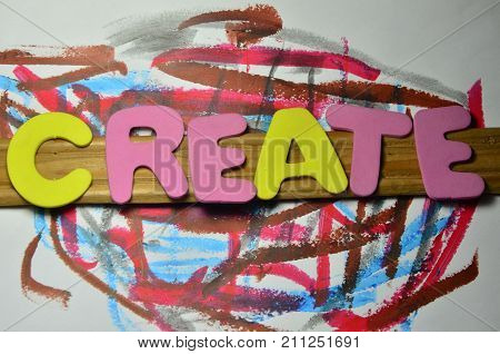 the word create on a  abstract colorful background