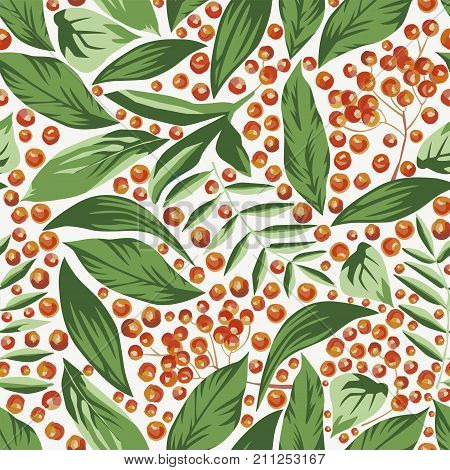 Rowanberry and leaves seamless pattern vector wallpaper
