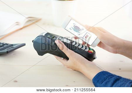 Mobile Payment with NFC technology on Smartphone shopping online with filter effect