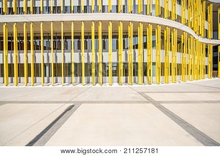 Colorful fasade of the modern building for background