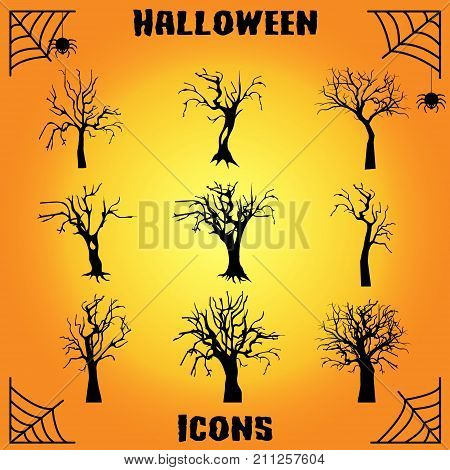Old dark trees with roots. Vector dead forest trees. Black silhouette dead tree illustration