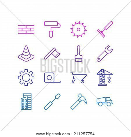 Editable Pack Of Barrier, Handcart, Measure Tape Elements.  Vector Illustration Of 16 Industry Icons.