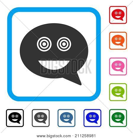 Crazy Smiley Message icon. Flat grey pictogram symbol in a blue rounded rectangular frame. Black, gray, green, blue, red, orange color versions of Crazy Smiley Message vector.