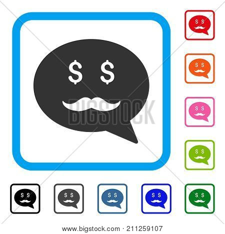 Investor Smiley Message icon. Flat gray iconic symbol in a blue rounded square. Black, gray, green, blue, red, orange color variants of Investor Smiley Message vector.